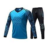 Rayauto Men's Youth Sport Football Soccer Goalkeeper Goalie Foam Padded Top Jersey Pants (Blue,M)