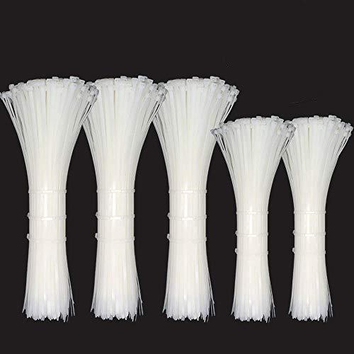 Caiery Kabelbinder Set -Selbst-schließende Nylon-Kabelbinder (Weiß 600set)