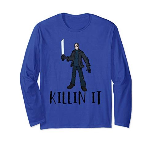 Killin It Halloween Freitag 13. Hockey-Spieler-Maske Kostüm Langarmshirt