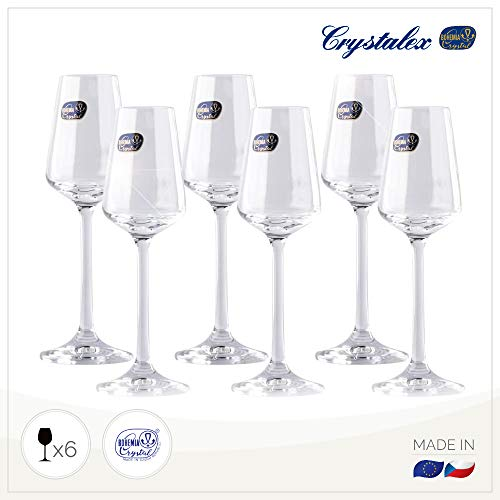 Small Liquor Glasses Set (6 pack), Hard & Durable Crystal Clear Stemware - 2.1 Oz / 65ml Crystal Glass Sherry Glass