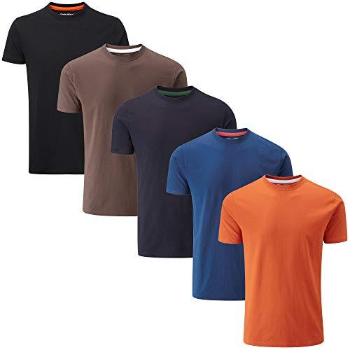 Charles Wilson 5er Packung Einfarbige T-Shirts mit Rundhalsausschnitt (Medium, Dark Essentials Type 42)
