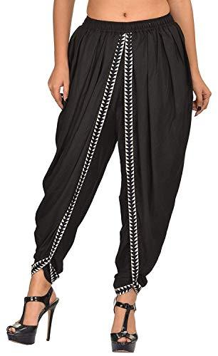 Navya Craft Black Color Rayon Dhoti Pant, Patiala Dhoti Salwar, Dhoti Trousers for Women, Girls