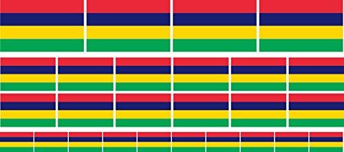 Mini Aufkleber Set - Pack glatt - 4x 51x31mm+ 12x 33x20mm + 10x 20x12mm- Sticker - Mauritius - Flagge - Banner - Standarte fürs Auto, Büro, zu Hause & die Schule - Set of 26