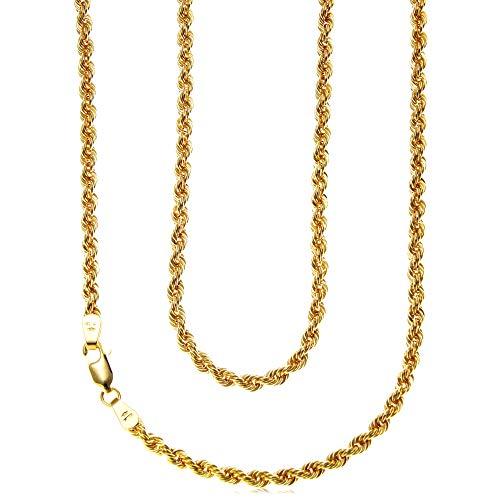 Cadena de oro amarillo de 9 quilates, 50 cm, ancho de 3 mm, apto para mujer. Viene en una caja de regalo de presentación de joyas
