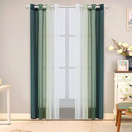 Sheer Curtains Set of 2 Panels Green Linear Gradient Sheer Curtain for Bedroom and Living Room Grommet Top Window Sheer Curtains (52 x 63, Green)