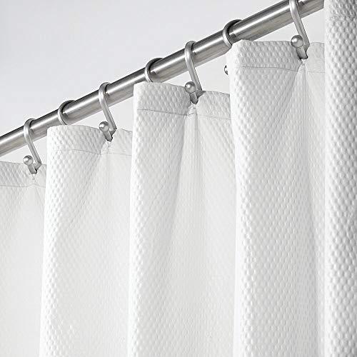 mDesign Duschvorhang – weicher Badewannenvorhang mit Muster – leicht zu pflegener & waschmaschinenfester Badvorhang – weiß