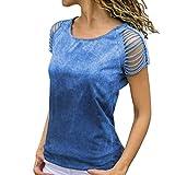 T Shirt Camicie da Donna Canottiere O Collo Tagliato Manica Unique Stlie Corta Camicetta Tinta Unita Moda 2020 Abbigliamento Femminile (Color : Blau, Taglia Unica : 3XL)