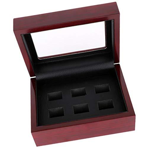 Colcolo Caja de Madera Organizador Portátil 12x16x7cm 2 Caja de 6 Agujeros Championship Sport - Vino Tinto de 6 Hoyos