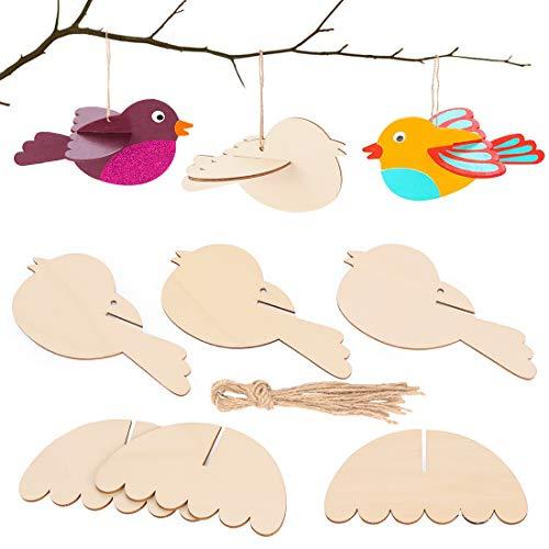 Zaloife 3D-Vogel aus Holz Ostern Basteln Kinder, Osterdeko für Jungen und Mädchen, für Ostern und Frühling zum Dekorieren(12 Stück)
