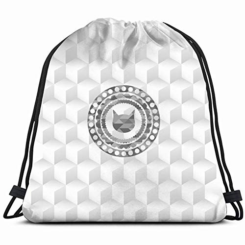 JIMSTRES Cat Face Icon Inside Grey Badge Signs Symbols Box Drawstring Backpack Gym Sack Lightweight Bag Water Resistant Gym Backpack for Women&Men for Sports,Travelling,Hiking,Camping,Shopping Yoga