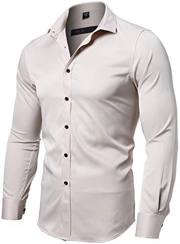 INFLATION Herren Hemd Aus Bambusfaser umweltfreudlich Elastisch Slim Fit für Freizeit Business Hochzeit Reine Farbe Hemd Langarm Herren-Hemd, Gr.M (Etikette 41), Beige