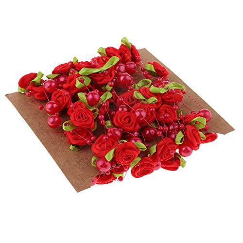 Bonarty 5 Mt Künstliche Perlen String Perlen Kette Garland Rose Blumen Hochzeit - rot, 5 m