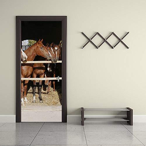 DRBTMT Türbild selbstklebender Türaufkleber -3D Kreativtier Pferd 90x200cm - Fototapete Türfolie Poster Tapete Abnehmbar PE Schälen und Stock Wandtapete zum Wohnzimmer Küche Schlafzimmer Wand