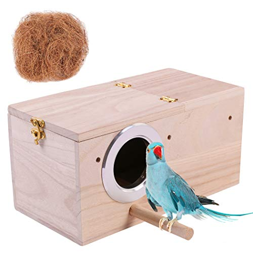 Hand Crafted Extra Large Parakeet Nest Box; Budgie Bird House with Natural Coconut...