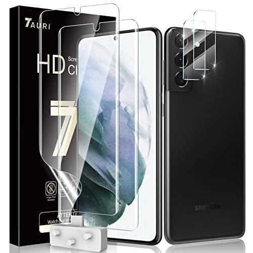 TAURI 4 Pack Protector de Pantalla para Samsung Galaxy S21 Plus con 2 Pack HD Película de TPU y 2 Pack Protector de Lente de Cámara - Sin Burbujas Huella Digital Ultrasónica Fácil de Instalar