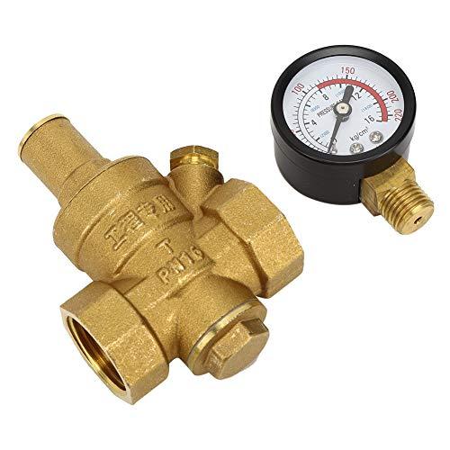 Reductor de presión Reductor regulador de presión de agua ajustable de latón DN20 con medidor de indicador