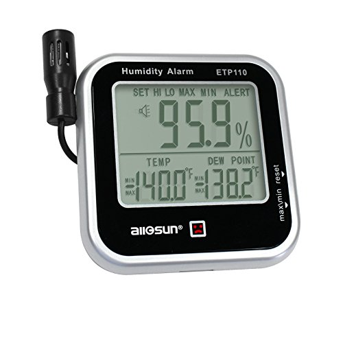 ALLOSUN Digital Thermo-Hygrometer with Humidity Alarm & Long Probe/Humidity Monitor/Dew-Point Meter