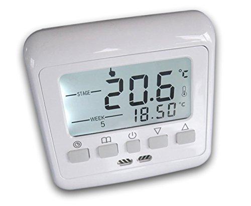 SM-PC®, 24V Raumthermostat Thermostat programmierbar Digital weiße Hintergrundbeleuchtung #843