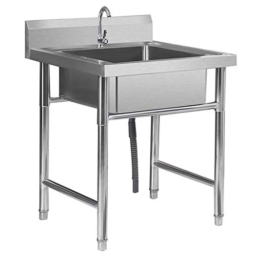 Karnih Standwaschbecken Edelstahlküche Multifunktions mit Ständer Gemüsewaschbecken Handwaschbecken mit einfachem Kaltwasserhahn-Set, einfache Wanne Doppelwanne