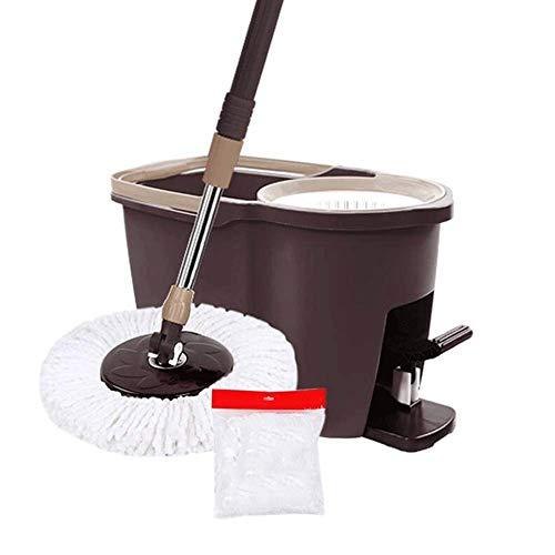 SMEJS Mop - Spin Mop Bucket System Sistema de Limpieza de Piso de Acero Inoxidable Deluxe 360 Spinning Mop Bucket con