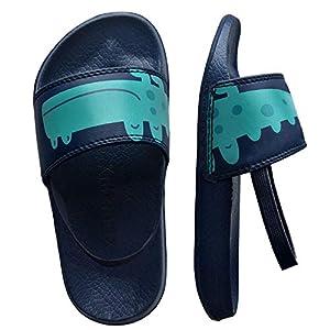 Knixmax - Chanclas para Niños y Niñas, Zapatos de Playa y Piscina para Unisex Niñas Sandalias de Punta Descubierta Ducha y Baño Chanclas Antideslizante, K-Verde-27