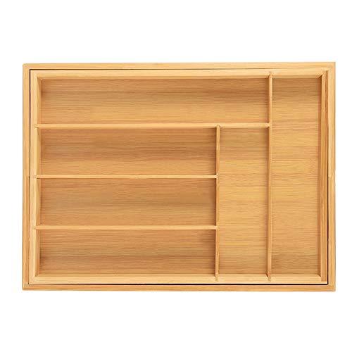 Verstelbare bestekladen, bamboe, bestekbak, bestekbak, lade-inzet, schuifladeninzet met 6 tot 8 vakken, keukenorganizer, ladenkast voor bestek organizer, 50 x 45 x 5 cm