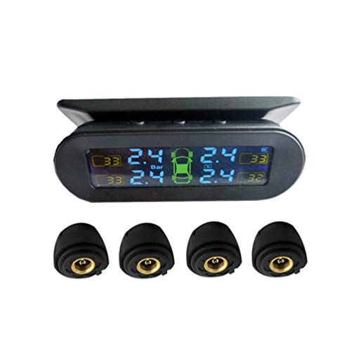 Wakauto Universelles Reifendruckkontrollsystem für PKW Funk-Solar-Reifendruckprüfer innen und außen schwarz (mit Batterie)