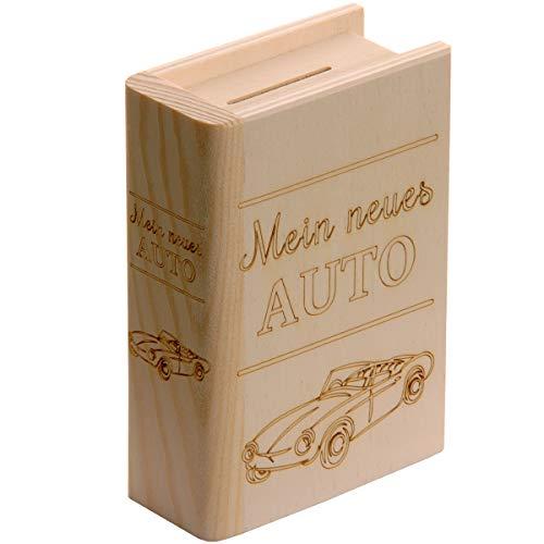 Spruchreif PREMIUM QUALITÄT 100% EMOTIONAL Hucha de libro de madera con grabado · Mi nuevo coche con motivo · Regalo de dinero · Nuevo coche · Carné de conducir · Hucha
