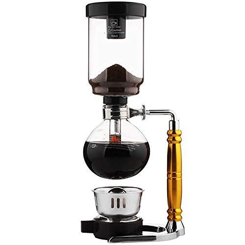 TAMUME 5 Tasse Siphon Maker Vakuum-Kaffeemaschine zum Brühen von Kaffee und Tee mit Goldenem Griff