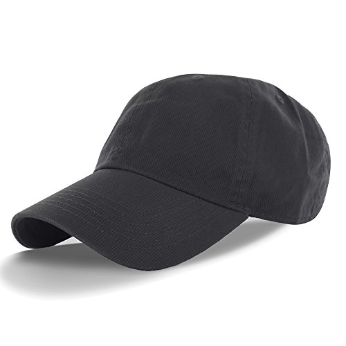 Plain 100% Cotton Hat Men Women Adjustable Baseball Cap (30+ Colors) Charcoal, One Size