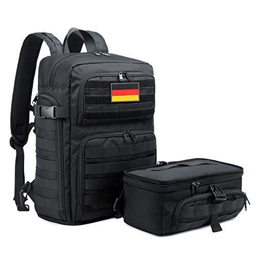BERTASCHE Taktisch Rucksack Trekkingrucksack 35L Wanderrucksack für Outdoor Sport Uni Schule Reise, Schwarz