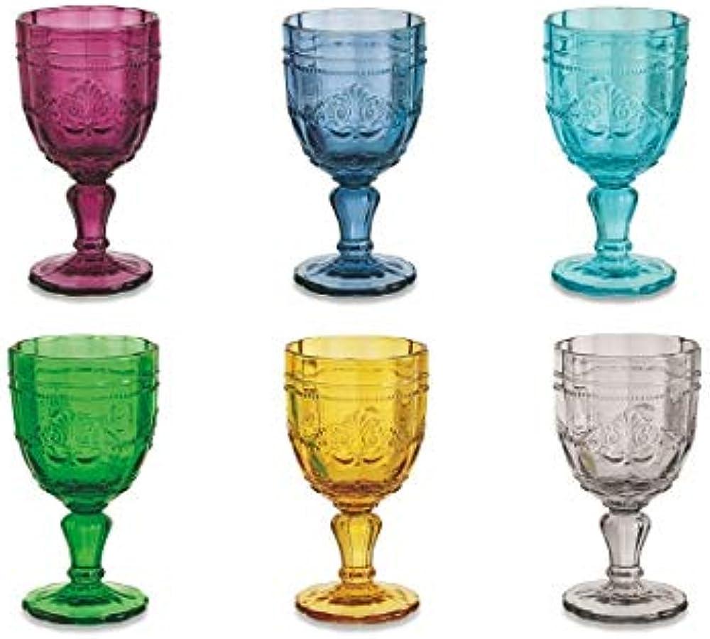 Villa d'este home tivoli syrah , set di 6 calici da vino, in  vetro multicolore 2191709