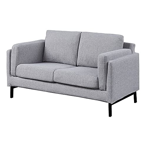 Panana Linen Fabric Sofa Settee Couch Modern Upholstered Compact Sofa with Metal Legs for Living Room Lounge Home Furniture (Light Gray, 2 Seater)