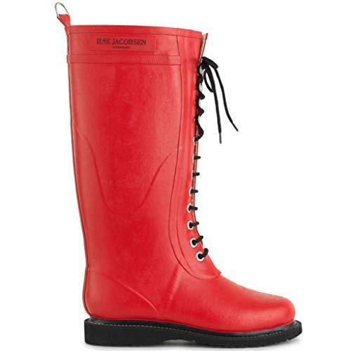 Ilse Jacobsen Damen Gummistiefel | Schuhe aus 100% Natur Bio Gummi | garantiert PVC frei | Lange Stiefel mit Schnürsenkel aus 100% Baumwolle | RUB1 Rot 38 EU