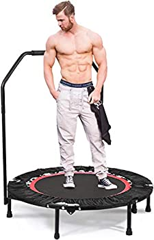 ANCHEER Fitness Trampoline for Kids with Handle Bars,40 Rebounder Trampoline Bungee Folding,Adult Home Gym Exercise Workout Jumper with Stability for Weight Loss Indoor/Outdoor Cardio red