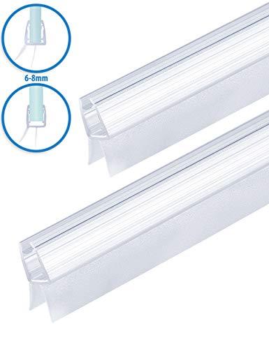 2x MAALIMA - Duschtür Dichtung, 100cm lange Gummilippe - für 6mm, 7mm, 8mm Glasdicke - Duschleiste mit Wasserabweiser an der Dichtung (2x 100 cm)