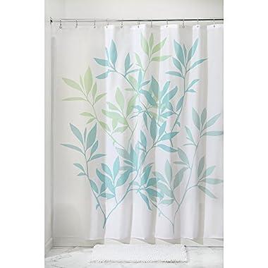InterDesign 35650 Leaves Fabric Shower Curtain - Standard, 72  x 72 , Blue/Green