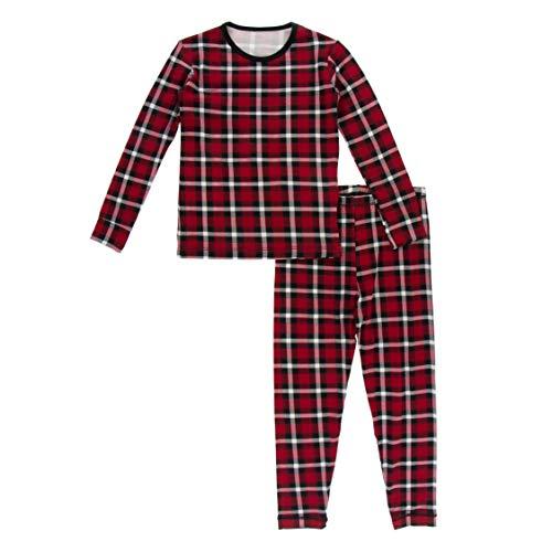 KicKee Pants Print Pajama Set with Long Sleeve Tee, Ultra Soft and Snug Fitting PJ's - Matching Top and Bottom Sleepwear Set, Newborn to Baby Pajamas (Crimson 2020 Holiday Plaid - 6 Years)