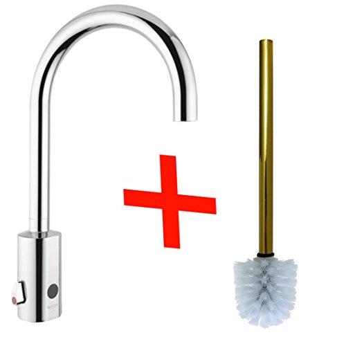 Infrarot Armatur plus kostenlose Toilettenbürste, Arzt Armatur, Berührungslos, Stoppt das Wasser Automatisch, kein Stromanschluss nötig! Zeitgesteuert Gewerblich Nutzbar!