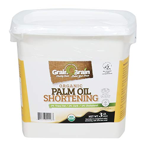 Grain Brain Organic Palm Shortening (3 lb) Non-Hydrogenated Pure and Natural, Super, Sustainable Certified