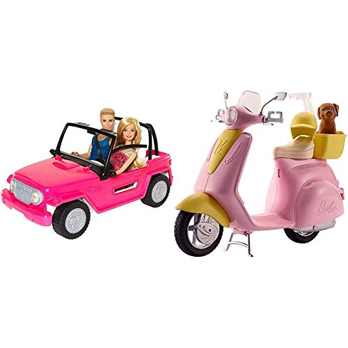 Barbie CJD12 Beach Cruiser with Barbie and Ken Dolls & FRP56 ESTATE Mo-Ped Motorbike for Doll, Pink Scooter, Vehicle, Multi-Colour