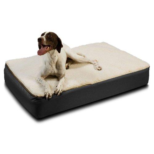 Snoozer Large Super Orthopedic Senior Dog Bed, Black with Cream Sherpa