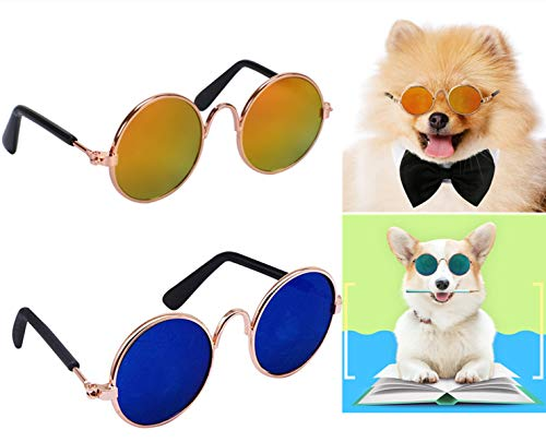 YIMUMU Cat Dog Sunglasses Classic Retro Circular Metal Glasses for Cats Puppy Pet Eye-wear for Funny Cosplay Toys Costume Photos Props, 2 Pcs Review