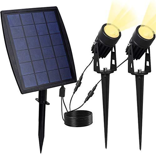 DLLT Solarlampe Garten, LED Solar Strahler 2 Stücke 3000K Warmweiß, IP65 Wasserdicht, 3W 250LM für Outdoor Rasen, Hof, Veranda, Terrasse, Weg, Garten, Plakatwand, Landschaft, Sportplatz