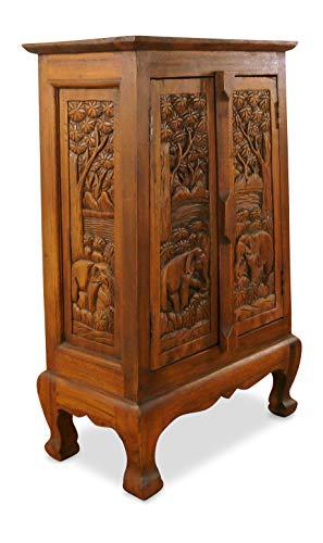livasia Asiatischer Schrank aus Massivholz, Kommode mit Schnitzereien, Highboard (Nr.9)