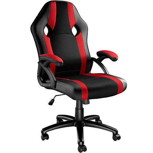 TecTake Chaise de Bureau Fauteuil siège Racing Sport Tissu - diverses Couleurs au Choix - (Noir-Rouge | No. 403490)