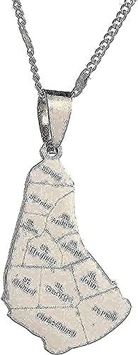 BEISUOSIBYW Co.,Ltd Collar Mapa de la Isla Collar de Barbados Pendientes de Acero Inoxidable Collar de joyería con Conjuntos de Barbados
