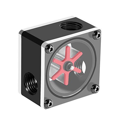 Yunir Wasserdurchflussmesser 6 Laufrader 3 Wege Durchflussmesser Anzeige G14 Gewinde fur PC Wasserkuhlsystem