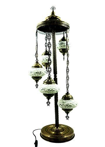 Orientalische Türkische Tiffany Glasmosaik Ottomane Turkish Asiatisch Handgefertigte Mosaik Glas Boden Lampe Innenleuchte Orientalische Lampe Glas Stehlampe Bodenlampe 5 Lichter Glasgröße 2 (Silber)