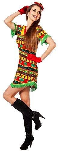 narrenkiste W4205-40 bunt Damen Bandita Kleid Mexikaner Kostüm Gr.40